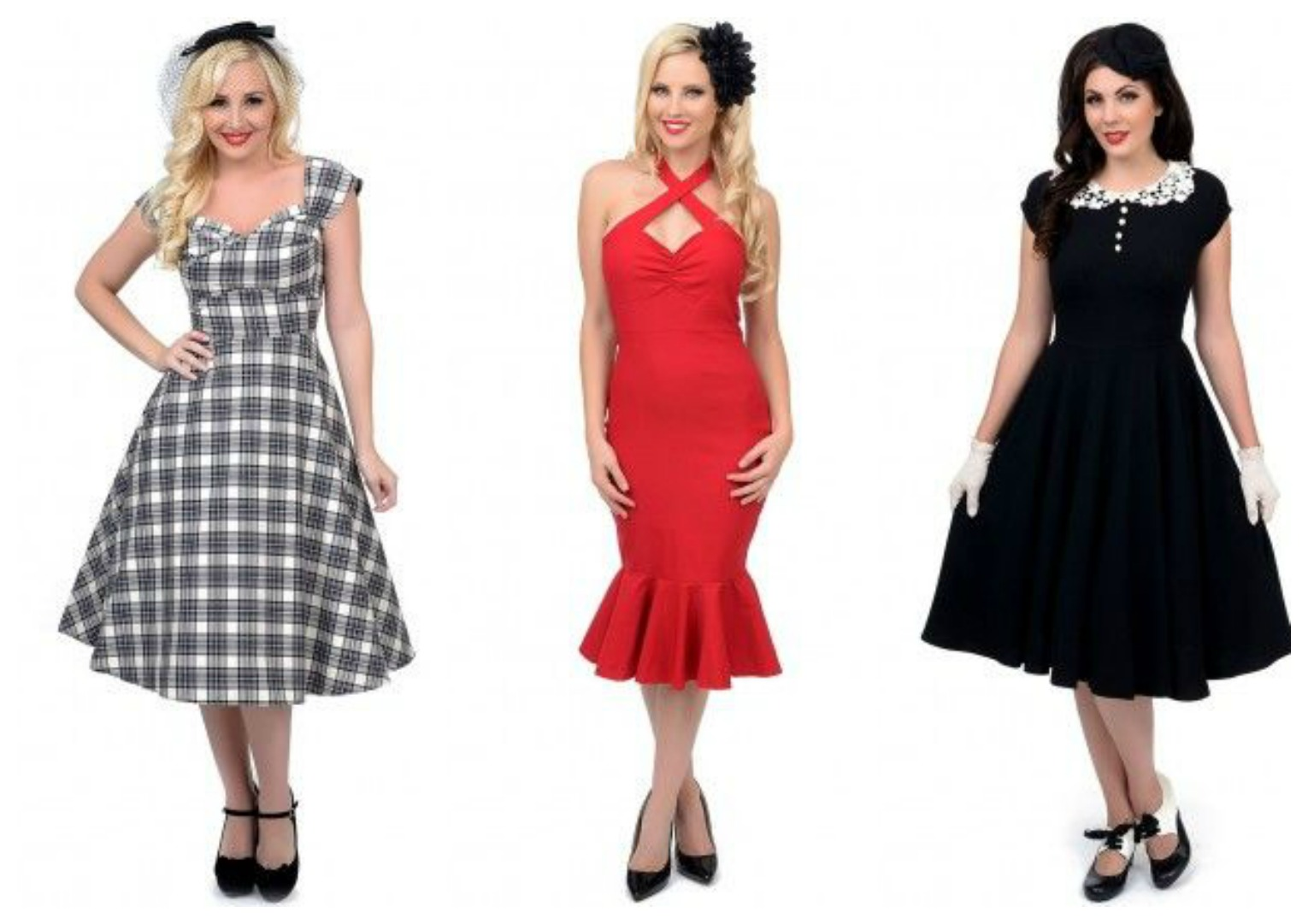 6ada8964c74c8 Plaid Dorothy $174 Cherry Dollface Wiggle Dress $82 Emilie Swing Dress $90